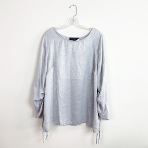 Eloquii | silver oversized blouse 3/4 sleeve top